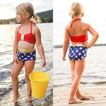 Onavy Kids Baby Girls 3pcs Leopard One Shoulder Vest Panties Bowknot Bikini Set Swimsuit Bathing Suit