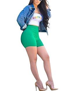 VLUNT Women Letter Print 2 Piece Outfits Tube Crop Top and Bodycon Short Pants Jumpsuit Set,Green-S