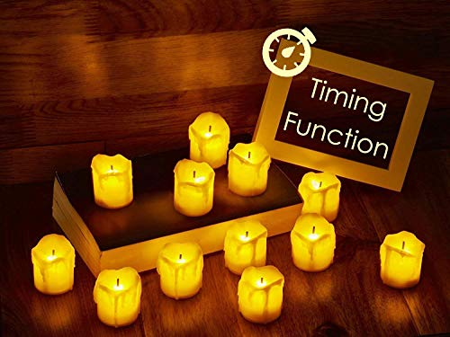LED Flameless Votive Candles with Timer, 6 Hours on and 18 Hours Off - Battery Operated Candles for Wedding, Valentine's Day, Christmas, Halloween Decorations (12-Pack)]()