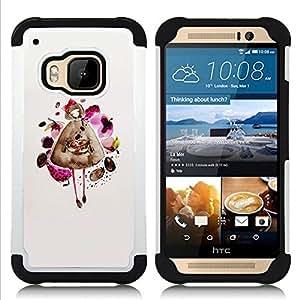 - fashion dress pretty lady girl/ H??brido 3in1 Deluxe Impreso duro Soft Alto Impacto caja de la armadura Defender - SHIMIN CAO - For HTC ONE M9