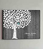 Rustic Tree Wedding Guest Book Alternative with Love Birds Wooden Canvas Guestbook Sign Customized Guestbook for Wedding Decorations