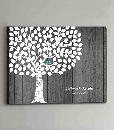Rustic Tree Wedding Guest Book Alternative with Love Birds Wooden Canvas Guestbook Sign Customized Guestbook for Wedding Decorations by Monsety