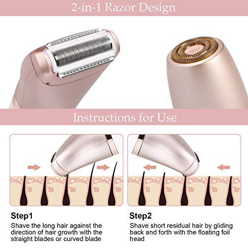 Electric Razor for Women – RenFox 2 in 1 Shaver for Women Bikini Legs Armpit Face Wet & Dry Painless Rechargeable Bikini…