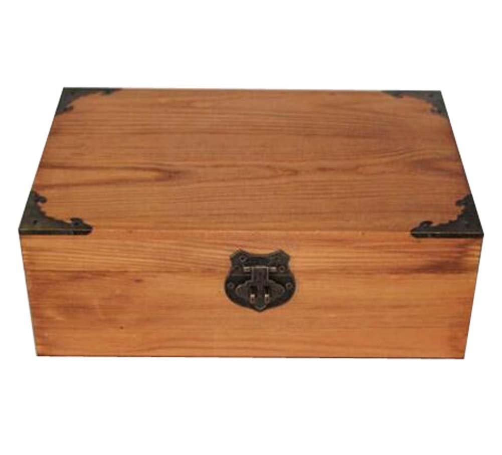 Creative Retro Lock With Wooden Box Desktop Rectangle Storage Box-Retro by DRAGON SONIC (Image #1)