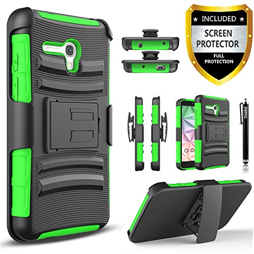 Alcatel OneTouch Fierce XL Case, Combo Rugged Shell Cover Holster with Built-in Kickstand and Holster Locking Belt Clip + Circle(TM) Stylus Touch Screen Pen And Screen Protector - Green