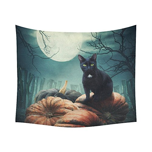 Black Cat Pumkin Home Decor Tapestries Wall Art, Night Sky Moon Tree