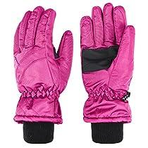 Wantdo Womens Waterproof Windbreaker Outdoor Anti-Slip Insulated Ski Gloves