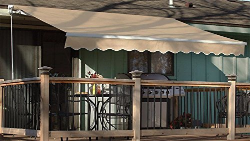 XtremepowerUS Patio Manual Retractable Sunshade Awning Shade Outdoor - Beige (10' x 8'ft) UV Resistant Water Sun Shade by XtremepowerUS (Image #3)