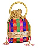 Traditional Women Silk Brocade Drawstring Potli Bag Evening Party Gift Handbag