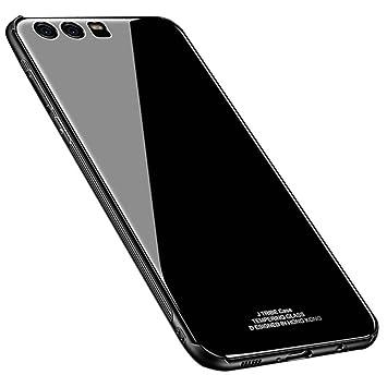 Kepuch Quartz Funda para Huawei P9 Plus - TPU Suave + Contraportada Hecha de Vidrio Templado Case Carcasa para Huawei P9 Plus - Negro