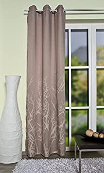 Home fashion 051/909–0540245X 0120–Tenda decorativa in tessuto jacquard, Tessuto, marrone, 245x 120cm 051/909-0540 245x0120