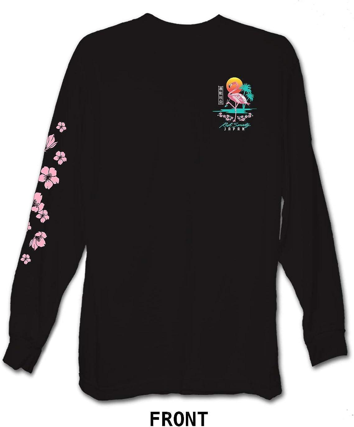 Mens Rose Red Flamingo Cartoon Long Sleeve Black Hooded Sweatshirt Cute