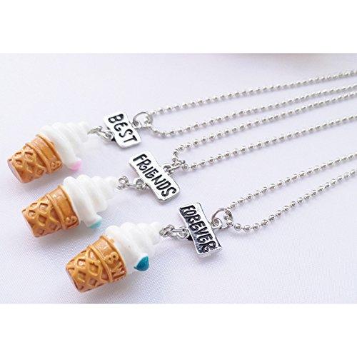 3Pcs//set Ice Cream Pendant Necklace Best Friend Forever Friendship Keepsake Gift