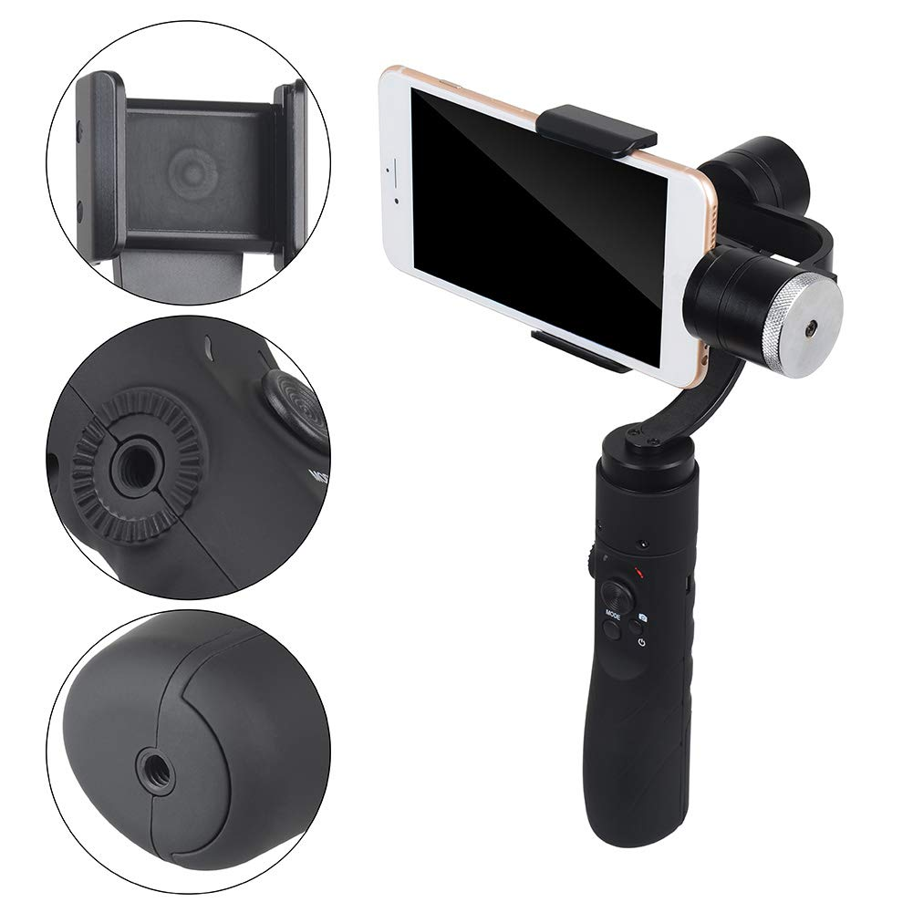 Smooth 3-Axis Handheld Gimbal Stabilizer w/Focus Pull & Zoom for iPhone Xs Max Xr X 8 Plus 7 6 SE Android Smartphone Samsung