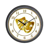 CafePress – Golden Theater Masks Of Comedy And Tragedy Wall Cl – Unique Decorative 10″ Wall Clock Review