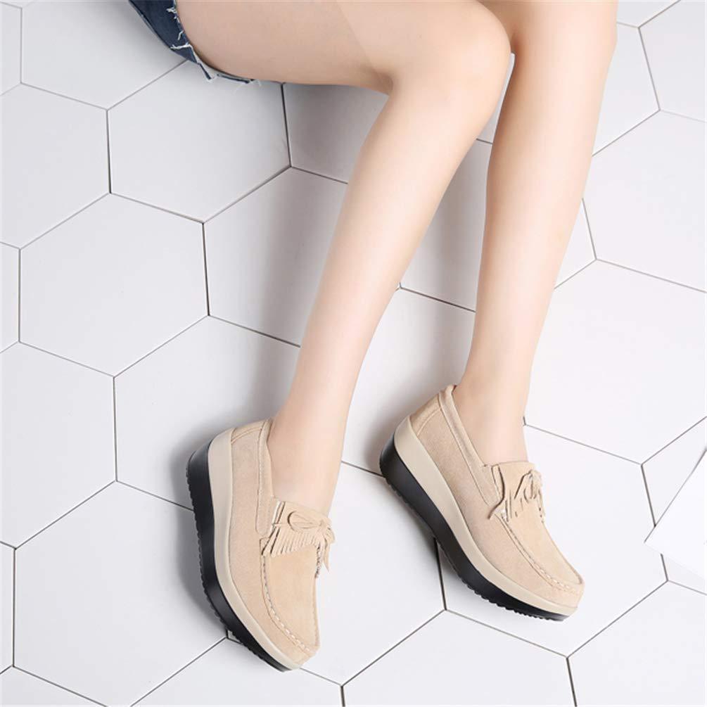 ZHRUI ZHRUI ZHRUI Frauen Freizeitschuhe Leder Dicke Sohlen Plattform Slip On (Farbe   288 Apricot Größe   2.5 UK) 71dbbf
