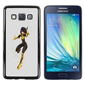 Shell-Star Arte & diseño plástico duro Fundas Cover Cubre Hard Case Cover para Samsung Galaxy A3 / SM-A300 ( Superhero Heroine Costume Yellow Black Woman )