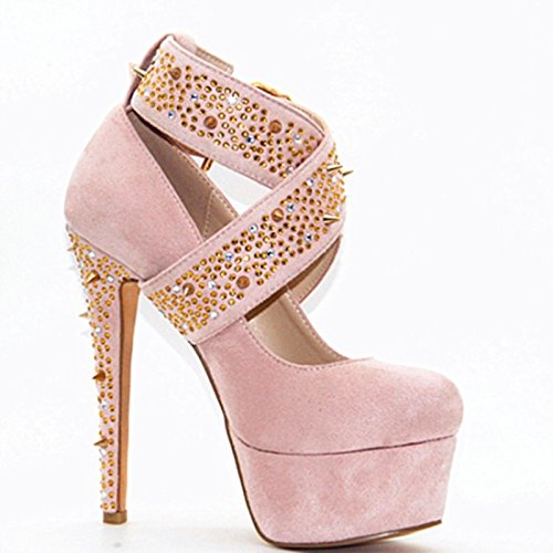 Size 5 Fashion Toe VIVIOO 14 45 Shoes Heeled 34 Shoes Beautiful 11 5 Pink Pumps Pink High Round Leather Prom Sandals Cm aSt1qxS