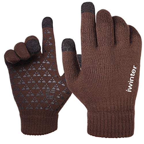 Achiou Warm Touchscreen Winter Gloves for Women Men Knit Wool Lined Texting (Coffee) ()