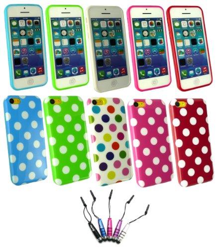 Emartbuy ® Apple Iphone 5c - Bundle von 5 Metallic Mini Eingabestift + Bundle Pack of 5 Polka Dots Gel Skin Cover / Schutzhülle Hot Pink / Weiß, Rot / Weiß, Blau / Weiß, Grün / Weiß & Multi-Coloured