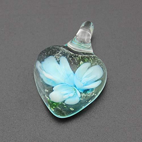 Loune Week 12pcs/lot Charming Noctilucent Heart Lampwork Glass Pendants Flower Murano Glass Charms for Necklace Earrings MC29