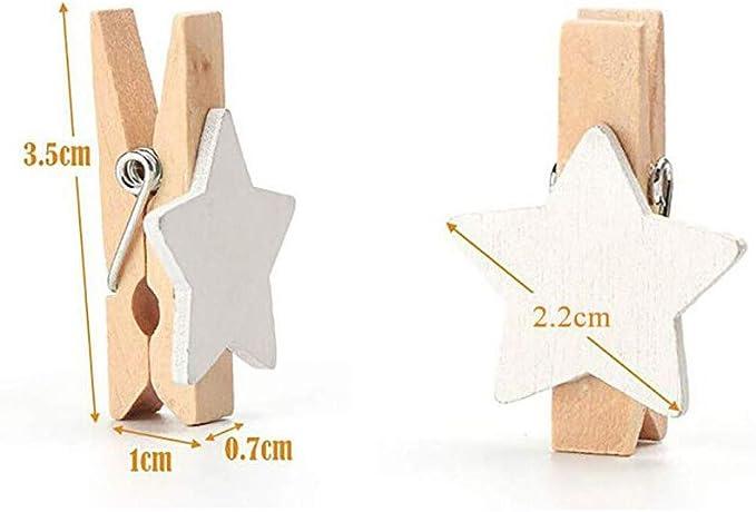 Queta Mini Clip de Madera Mini Clip de Pentagrama Pinza de Ropa de Estrella Clip de Decoraci/ón de Madera para Navidad//Foto//P/óster//Fiesta//Boda//Pared 100 Piezas de Clip de Madera para Decoraci/ón