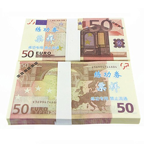Euro $50X100 Pcs Total $5,000 Dollar Currency Props Money Bills Real Looking New Style Copy Double-Sided Printing - for Movie, TV, Videos, Advertising & Novelty