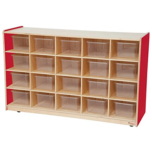 Healthy Kids Colors WD14501R Strawberry Red 20 Tray Storage with Translucent Trays 20 Tray Cubby Storage
