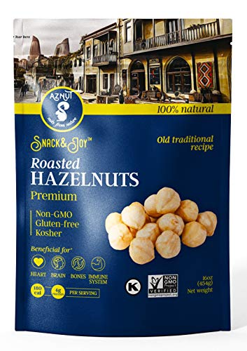 AZNUT Roasted Hazelnuts Natural, Unsalted, Dry Roasted, 16 oz (1 Pack)