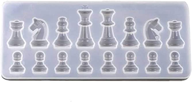 SYWAN 3D International Chess Silicone Epoxy Molds for DIY Clay Cake Art Craft Gift Home Decoration 4pcs Chess Pieces Resin Mold with 1pcs Chess Board Resin Mold