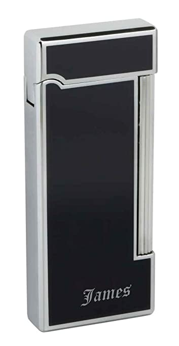 Personalized Caseti Ravensdale Chrome Plated Vertical Lines and Black Lacquer Flint Traditional Flame Lighter with free