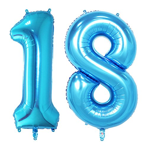 NUOLUX 40 inch Jumbo Foil Balloons Number 18 Balloons for Birthday Anniversary Decoration (Blue)