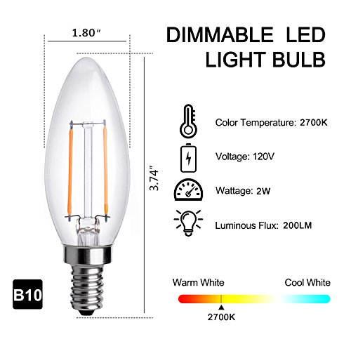 HOLA Dimmable LED Bulb E12 Candelabra Base, UL-Listed LED Chandelier Bulb, 40W Equivalent Warm White 2700K, Decorative LED Lights for Home Lighting, C35 Frosted Glass, 4 Pack