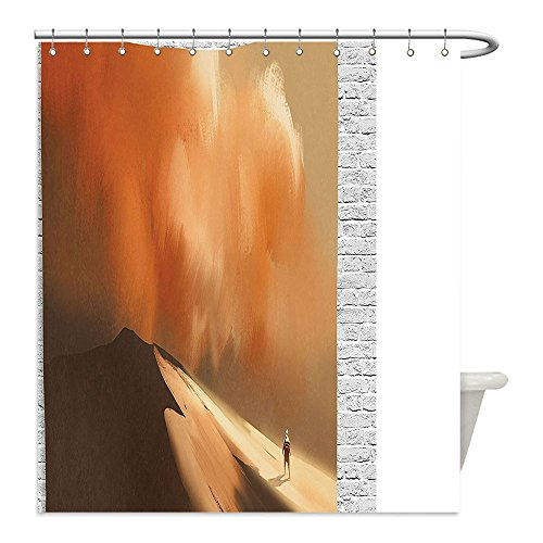 Storm Shadow Costume Video (Liguo88 Custom Waterproof Bathroom Shower Curtain Polyester Fantasy Art House Decor Shadow Man Walking through Sand Storm in Desert Hiking Wind Hot Image Cream Decorative bathroom)