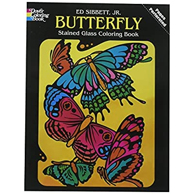 Dover Butterfly Stained Glass Coloring Book, by The Yard, Black: Ed Sibbett Jr.: Home & Kitchen