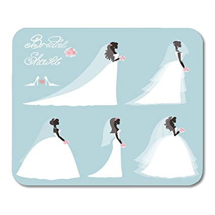 boszina mouse pads wedding bride in different dress bridal shower cartoon girl woman silhouette portrait swirling