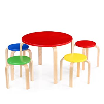 597e44bb558d IKAYAA Solid Wood Round Kids Table 4 Chairs Set Furniture Toddler Children  Activity Table Set