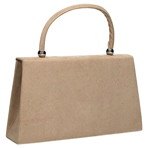 Wocharm Evening party Clutch Clutch Handbag Folds Bag Womens Bag Prom velvet Suede Ladies Shoulder Khaki 1 Bridal rpSnrW7wxP