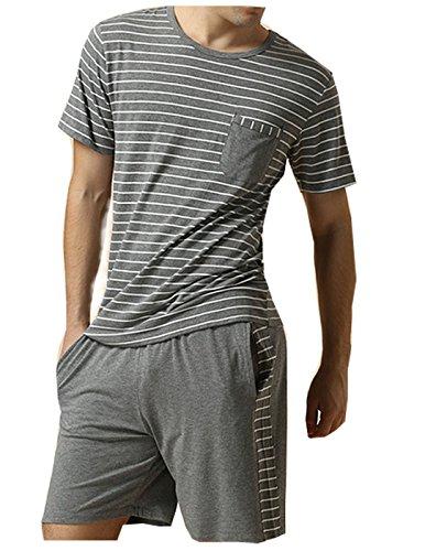 Gina 1982 Men's Summer Sleepwear Striped Short Sleeve Pajamas Shorts and Top Set Dark Grey