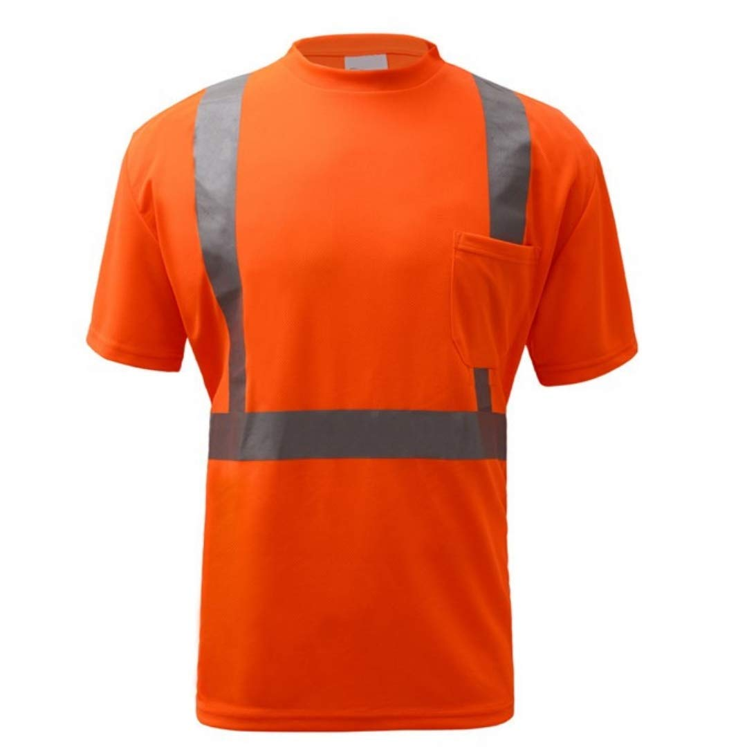Brite Safety Standard Class 2 Moisture Wicking Short Sleeve Safety T-Shirt With Chest Pocket - Safety Shirts for Men - High Visibility (Tall Extra Large, Orange)