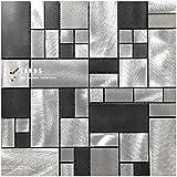 Gemischte Farbe Schwarz Und Silber Metall Küche Backsplash Mosaik  Wandfliesen. Selbstklebende Innenwand Dekoration DIY Aufkleber