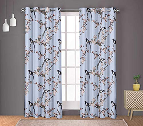 S4Sassy Cotton Duck Blossom & Paradise Whydah Bird Blue Drapes Curtain Door Treatment Panel Set for Living Room- 54x108 Inches