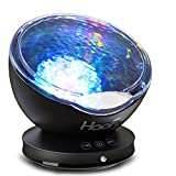 Haofy Night Light Projector, 12 LED 7 Colorful Sleep Night Lamp for Kids Ocean Wave Rotatable Projection with Built-in Mini Music Player Baby Child Mummy Bedroom Living Room Party Appointment (Black)
