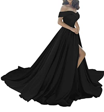 741e2b4c17 Harsuccting Off The Shoulder Split Long Satin Evening Prom Dress with  Pockets Black 2