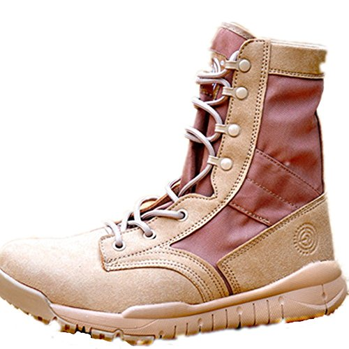 HanWild Dreamer Mens Lightweight 8 inches Leather Military Combat Boots Sand aEktuZMg
