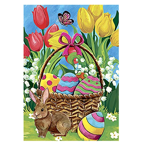 Morigins Bunny Tulip 28 x 40 Inch Decorative Spring Easter Cute Rabbit Flower House - Flag Banner Easter