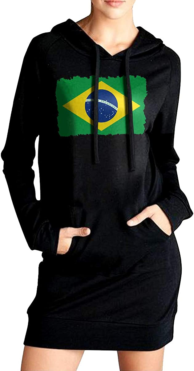 ADA/&KGH Womens Pullover Sweatshirt Long Hoodie Dress Brazil Flag Sport Outwear with Pockets
