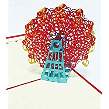 3D Solid Pop-up Ad Greeting Card Wedding Gift Birthday Valentine's Day White Day Christmas Gift (disambiguation) MaleKoha FlightShall Issue Invitations ( LOVE2Ferris Wheel Red Version)