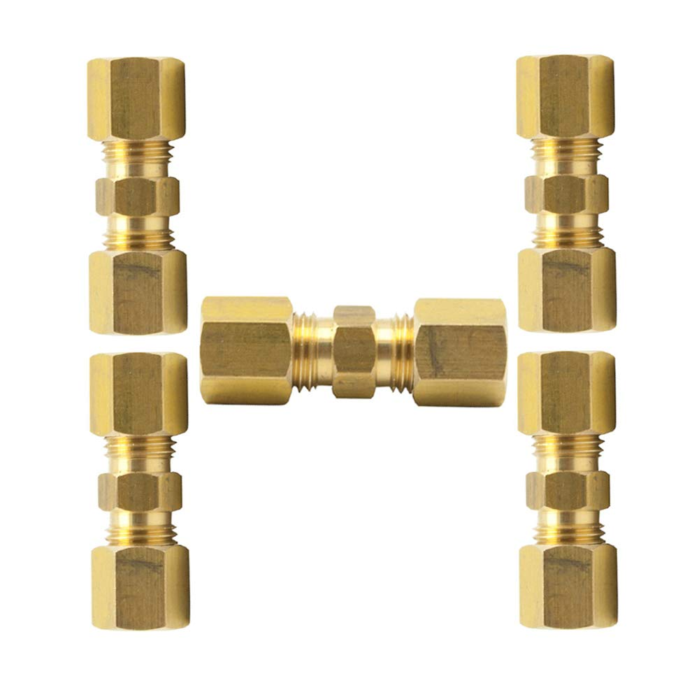 Pack of 20 Vis Brass Compression Tube Fitting 3//16 OD x 3//16 OD Union