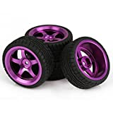Mxfans Plastic Drift Tires with Purple Aluminum Alloy 5-Spoke Wheel Rim for RC 1:10 On-Road Racing Car Pack of 4